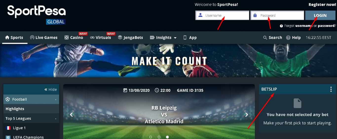 Sportpeas login and place bet