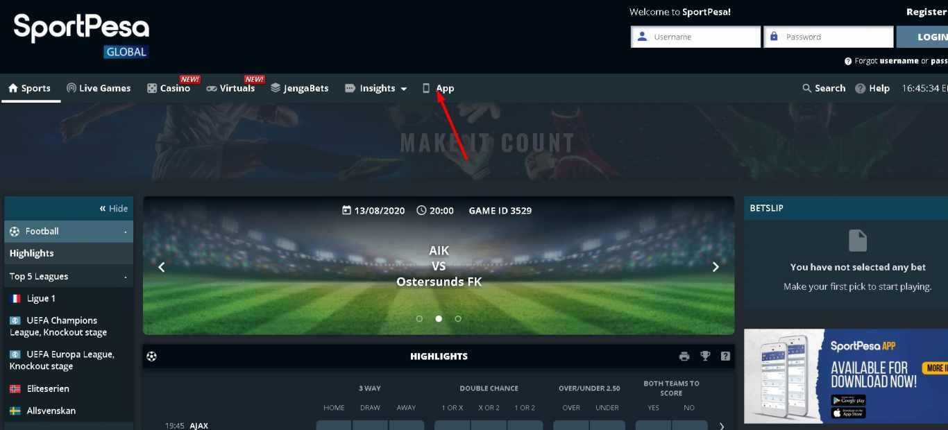 Sportpesa login app