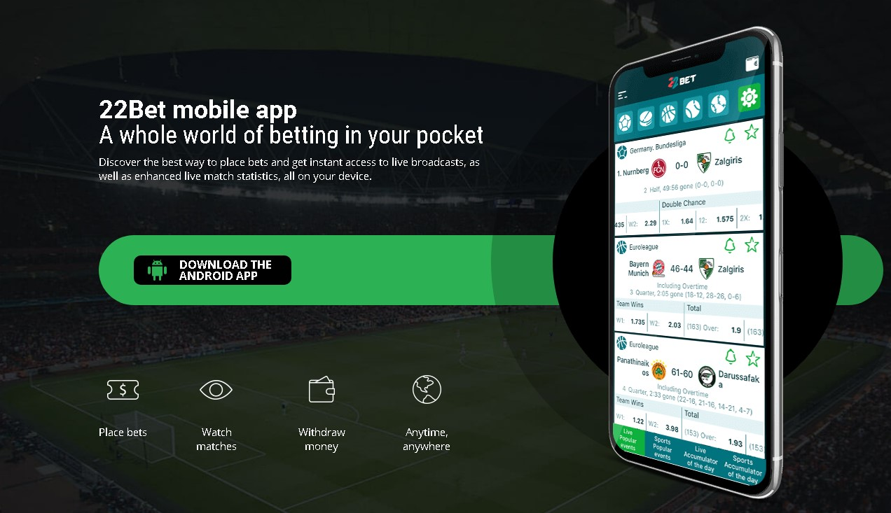 22Bet mobile android